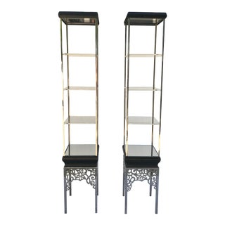 Vintage Set of Chrome and Lucite Display Etagere Shelves - a Pair For Sale