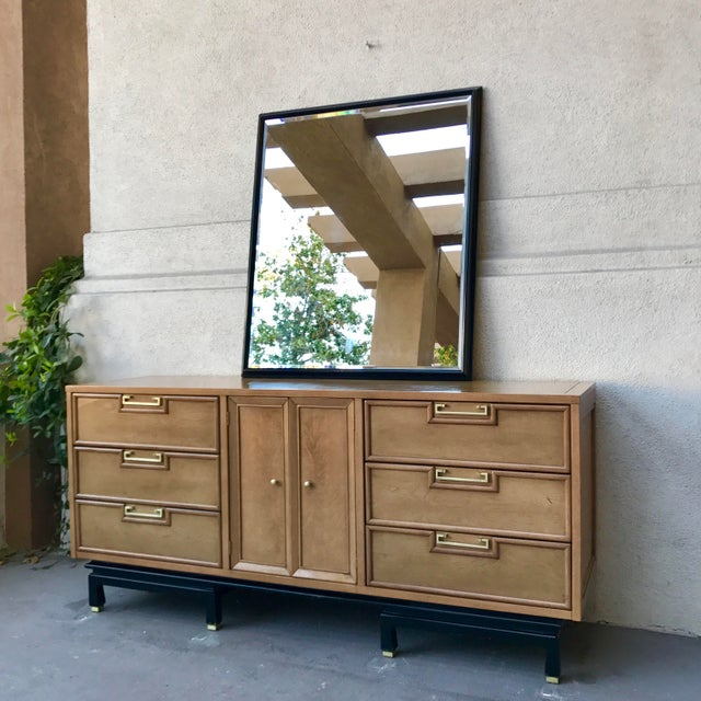 Mid-century Solid Pecan Wood Eastern 9~Drawer Dresser by American of Martinsville. Beautifully finished solid craftsman...
