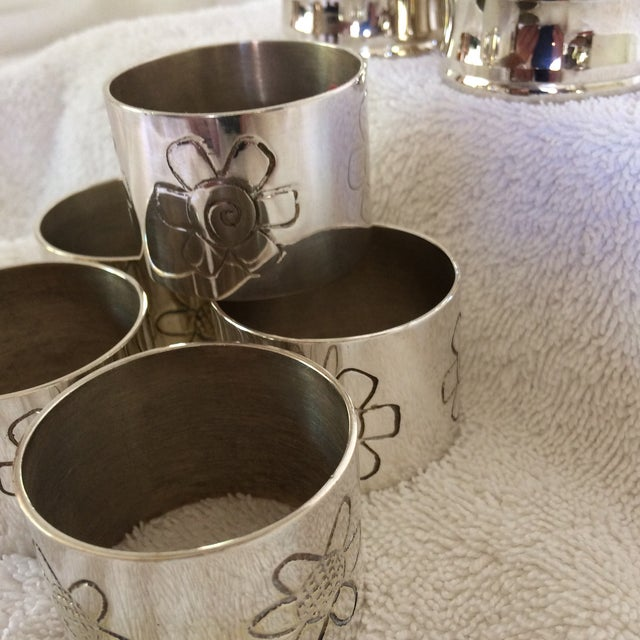 1980s Two Sets of Aukey Silver Plated Napkin Rings - Group of 9 For Sale - Image 5 of 12