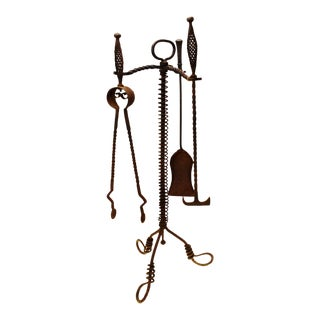 Antique Twisted Wrought Iron Fireplace Tools For Sale