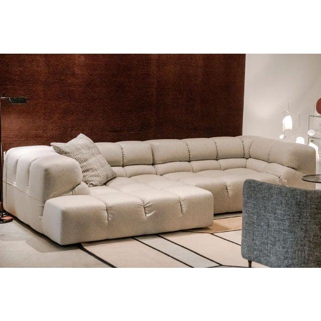 B&B Italia B&b Italia Heathered Ivory Wool Blend Upholstered Tufty-Time Sectional For Sale - Image 4 of 6