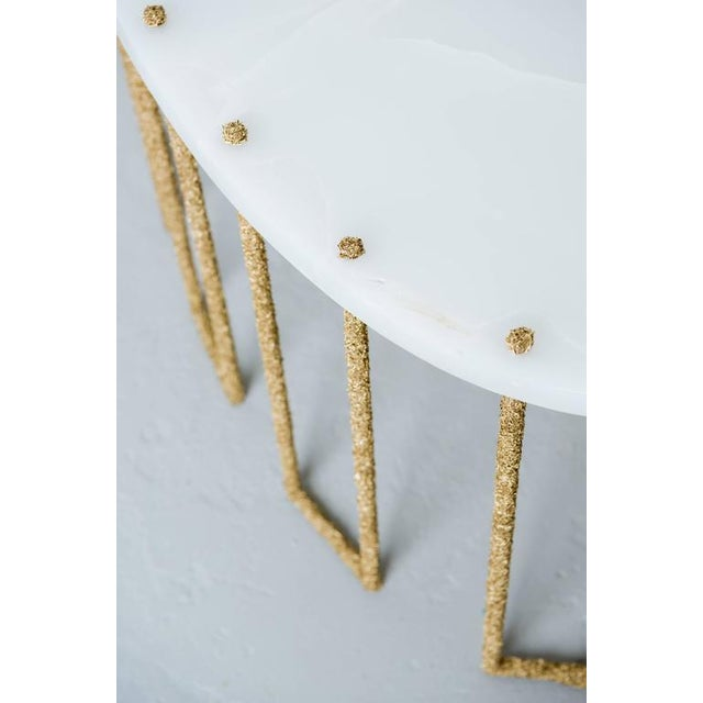 Metal Hand Made Brass Shavings Coffee Table with Onyx Top, by Samuel Amoia For Sale - Image 7 of 9