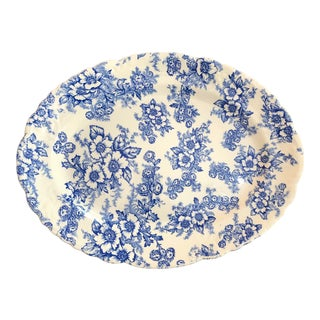"1940s Taylor Smith Taylor China ""Dogwood"" Blue Oval Platter For Sale"