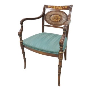 Regency Paint Decorated Faux Bamboo Arm Chair For Sale