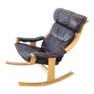 Mid-Century Modern Black Leather Rocking Chair For Sale