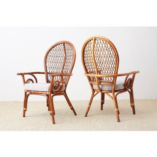 Set of Four Bamboo Rattan Peacock Dining Armchairs Preview