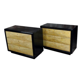 Hollywood Regency Ebonized Bachelor's Chests Commodes - A Pair For Sale