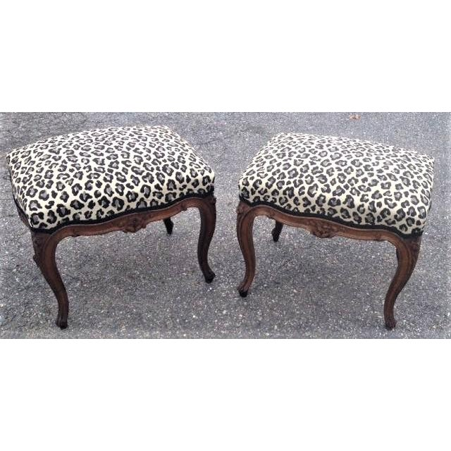 Early 20th Century Vintage Carved Walnut French Louis XV Style Foot Stools- a Pair For Sale In Boston - Image 6 of 6