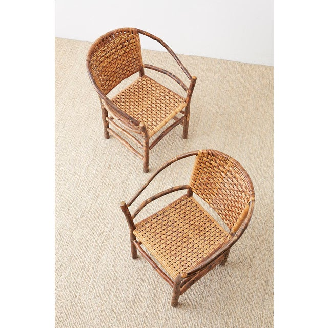 Set of Six Old Hickory Twig Hoop Adirondack Armchairs For Sale In San Francisco - Image 6 of 13