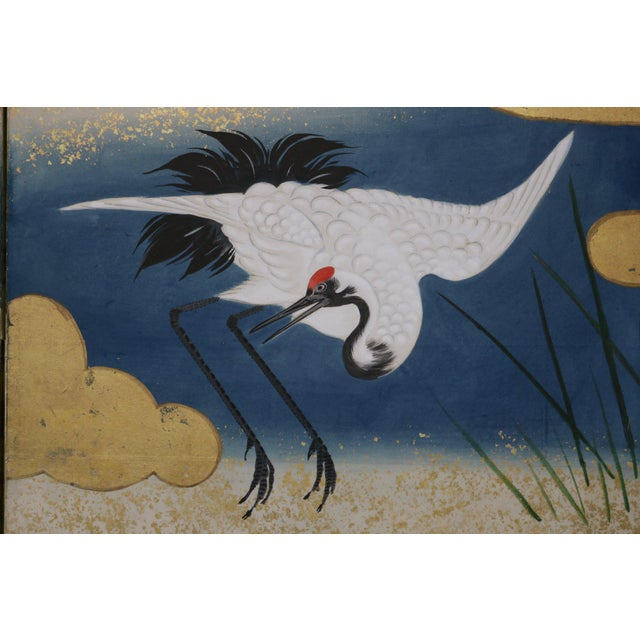 Late 18th Century Six Panel Blue and Gold Crane Scene Japanese Screen For Sale - Image 5 of 7