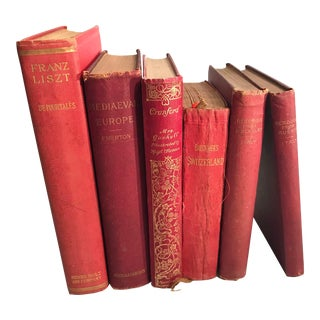 Late 19th Century Antique Red Books-Set of 6 For Sale