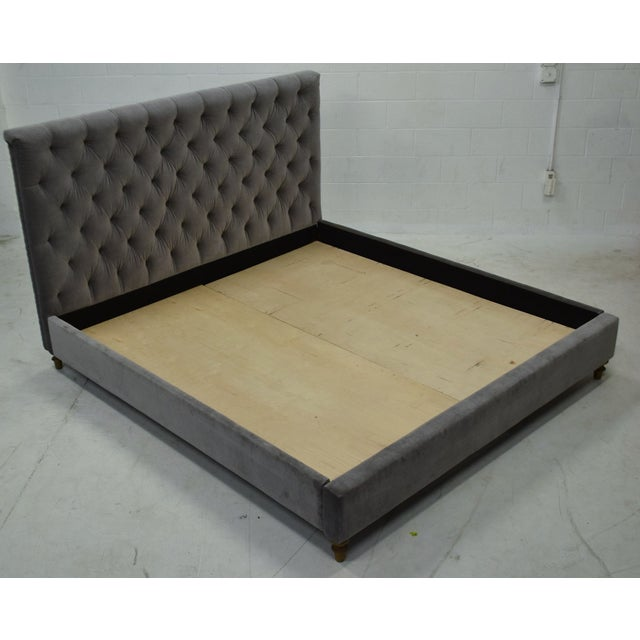 2010s Restoration Hardware Chesterfield Tufted King Bed in Fog Vintage Velvet For Sale - Image 5 of 8