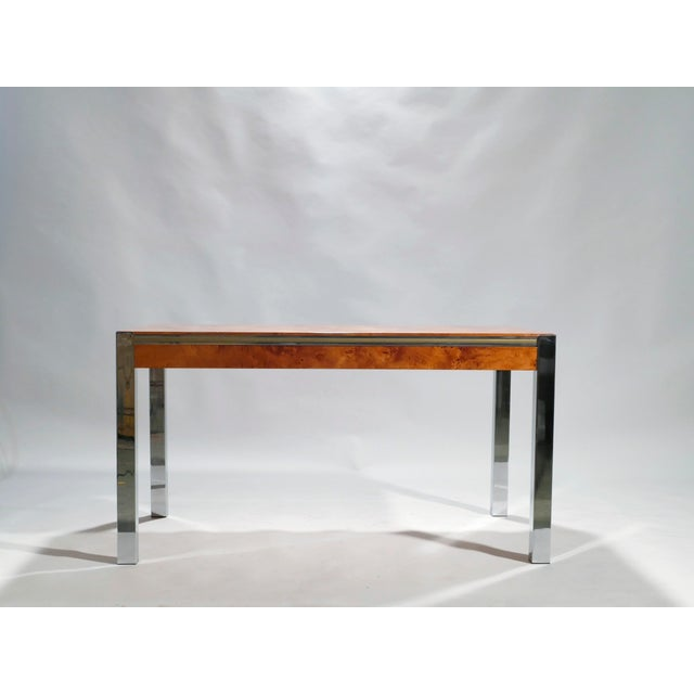Metal Willy Rizzo Burl Chrome Brass Dining Table, 1970s For Sale - Image 7 of 11