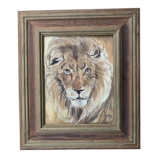 """1970s """"Portrait of a Lion"""" Oil Painting, Framed For Sale"""