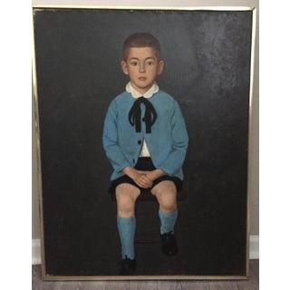 Vintage Portrait Little Boy in Blue-Original Oil on Canvas Preview