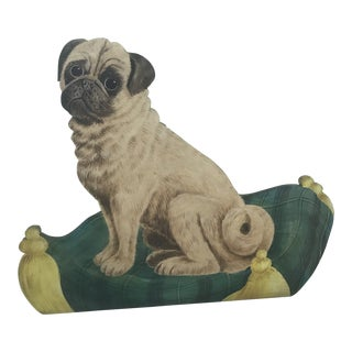 Pug Dog Oil on Wood Dummy Board For Sale