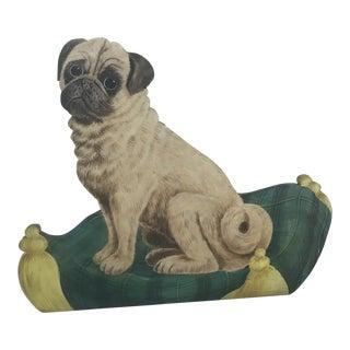 Pug Dog Oil on Wood Dummy Board For Sale