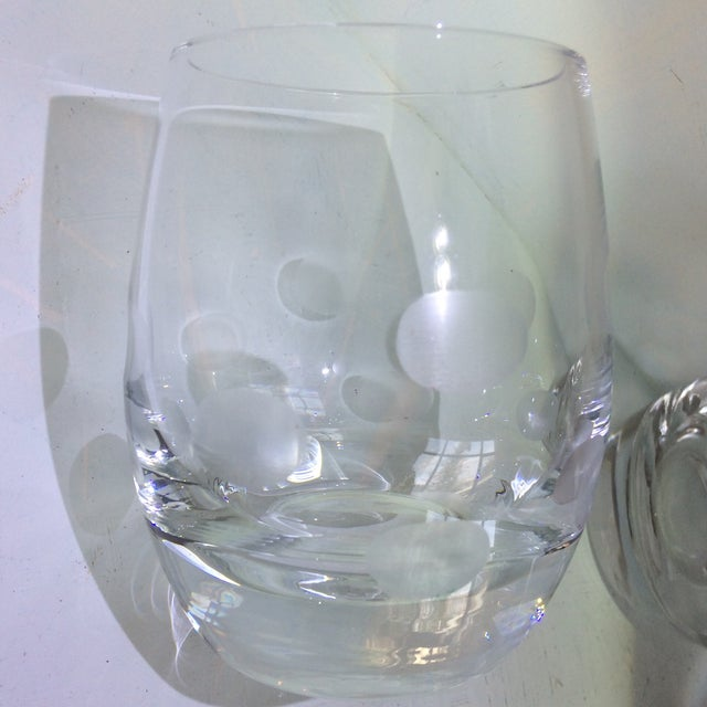 Transparent Mid-Century Modern Style Crystal Roly Poly Heavy Bottom Whiskey Glasses With Etched Polka Dots - Set of 6 For Sale - Image 8 of 13
