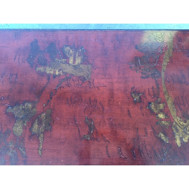 Mid-Century Red Lacquer Chinese Style Coffee Table - Image 7 of 7