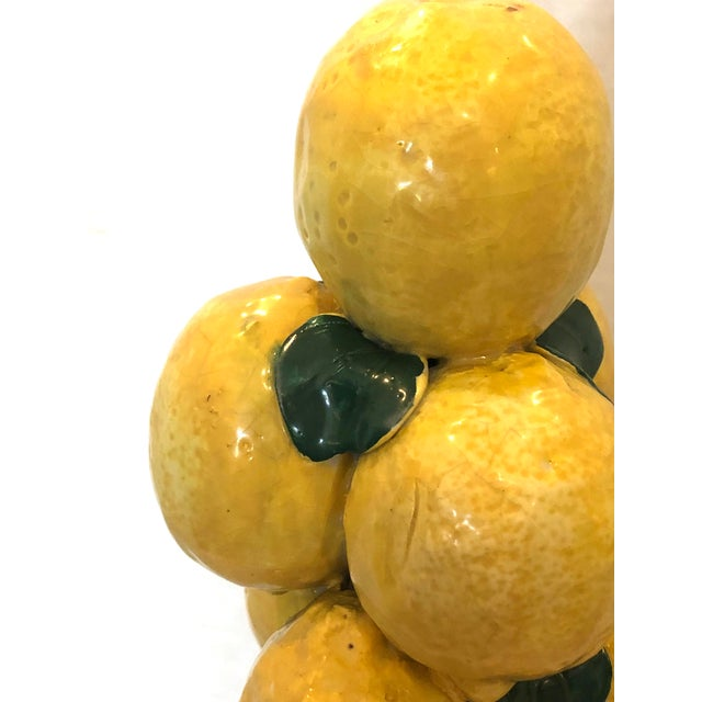 """Italian Ceramic Giant Lemon Topiary in Basket, Centerpiece, 28"""" High For Sale In West Palm - Image 6 of 12"""
