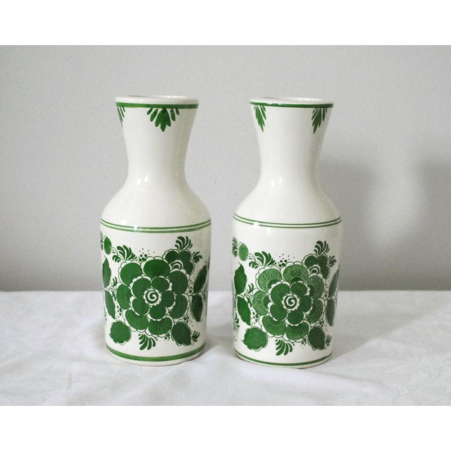 1970s Shabby Chic Delft Green Carafes - a Pair For Sale - Image 9 of 9