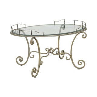 Tuscan Style Silver Wrought Iron Oval Glass Top & Brass Coffee Table For Sale