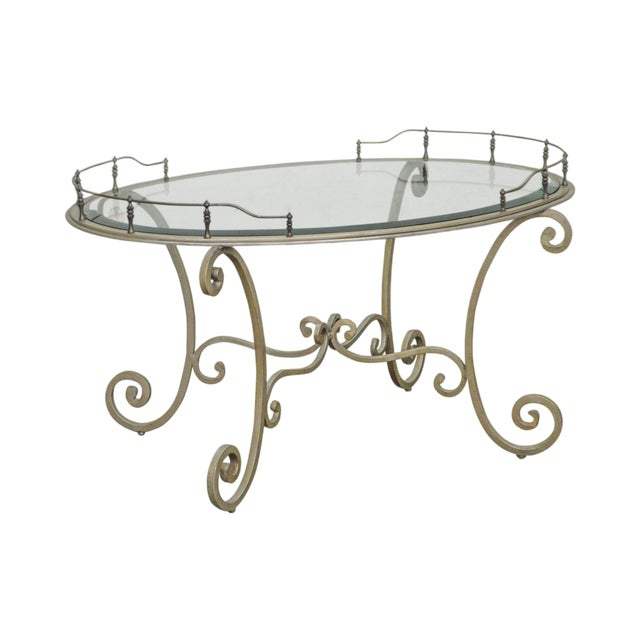 Tuscan Style Silver Wrought Iron Oval Glass Top Brass Coffee Table
