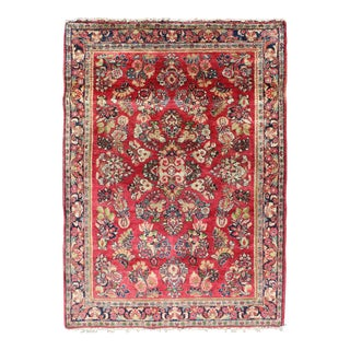 Very Fine Woven Persian Sarouk Small Rug in Excellent Condition For Sale