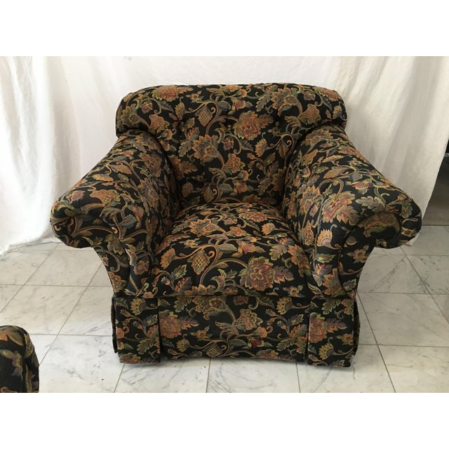Drexel Heritage Oversized Tufted Chairs & Ottoman For Sale In Detroit - Image 6 of 11