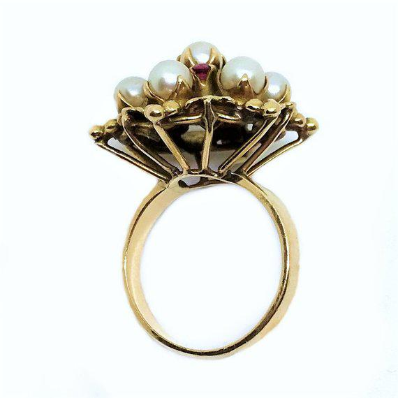 18k Gold Ruby and Pearl Ring For Sale - Image 4 of 5