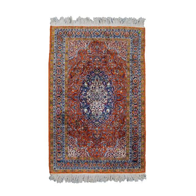 Vintage Silk & Wool Kashmir Prayer Rug-3'x5' For Sale - Image 9 of 9