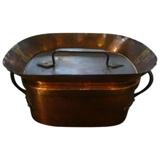 19th Century French Covered Copper Pan For Sale