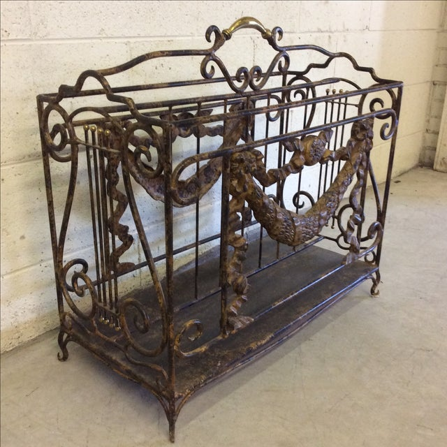 Ornate Lyre Iron Magazine Rack - Image 3 of 9