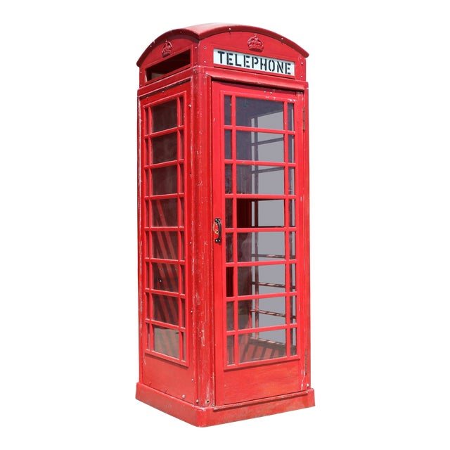 Metal Vintage London Lifesize Telephone Booth For Sale