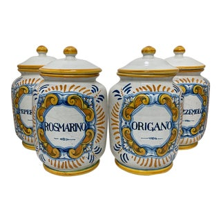 Antique Italian Faience Spice Jars With Lids - Set of 4 For Sale
