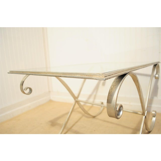 Glass Vintage Hollywood Regency Neoclassical Silver Gilt Metal X Form Coffee Table For Sale - Image 7 of 10
