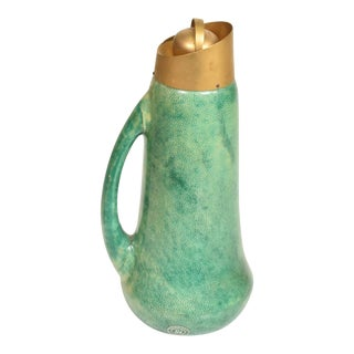 Mid Century Modern Sculptural Pitcher by Aldo Tura in Green Goatskin and Brass Accents For Sale