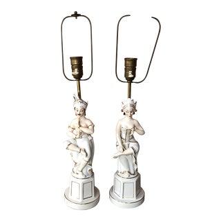 1940s Mid Century Hollywood Regency Porcelain Figural Art Deco Lamps - a Pair For Sale