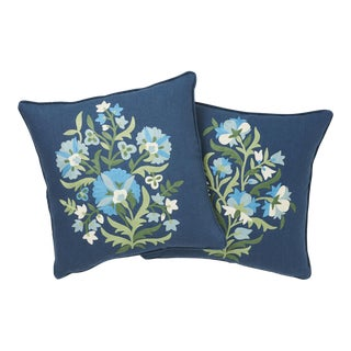 Contemporary Schumacher Antalya Medallion Embroidery Pillows in Aegean - a Pair For Sale