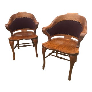 1950s Vintage Sculpted Oak Arm Chairs- A Pair For Sale