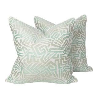 Tribal Seafoam Geometric Pillows, a Pair For Sale