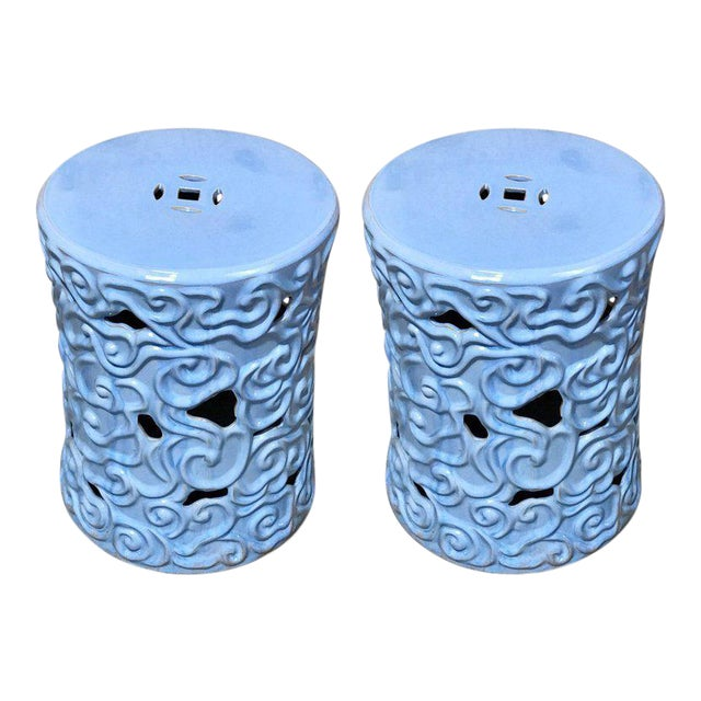 Gumps Chinese Export Steel Gray Turquoise Garden Seat - A Pair For Sale