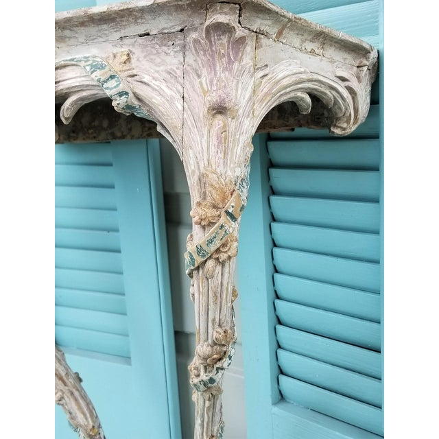 White 18th C Louis XVI Carved & Painted Wood Console With Marble Top For Sale - Image 8 of 13