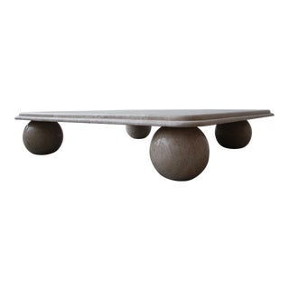 Post Modern Square Low Profile Travertine Coffee Table Round Ball Legs For Sale