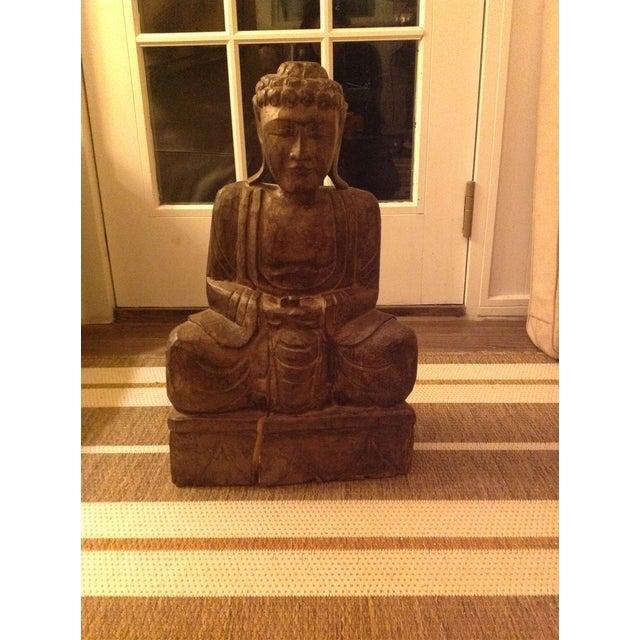 Antique Wooden Buddha - Image 2 of 3
