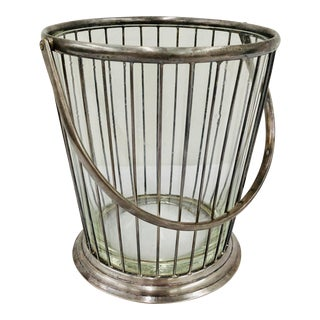 Antique Silver Basket Vase / Ice Bucket For Sale
