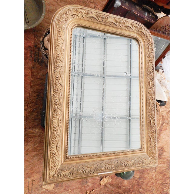 Early 20th Century Antique French Art Nouveau Patinated Gold Mirror For Sale - Image 9 of 9