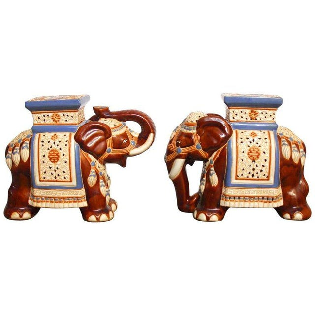 Ceramic Elephant Garden Stools or Drink Tables - A Pair - Image 11 of 11