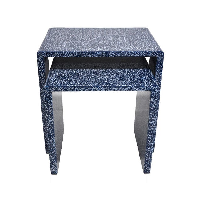 Blue Waterfall Nesting Tables - A Pair - Image 2 of 6