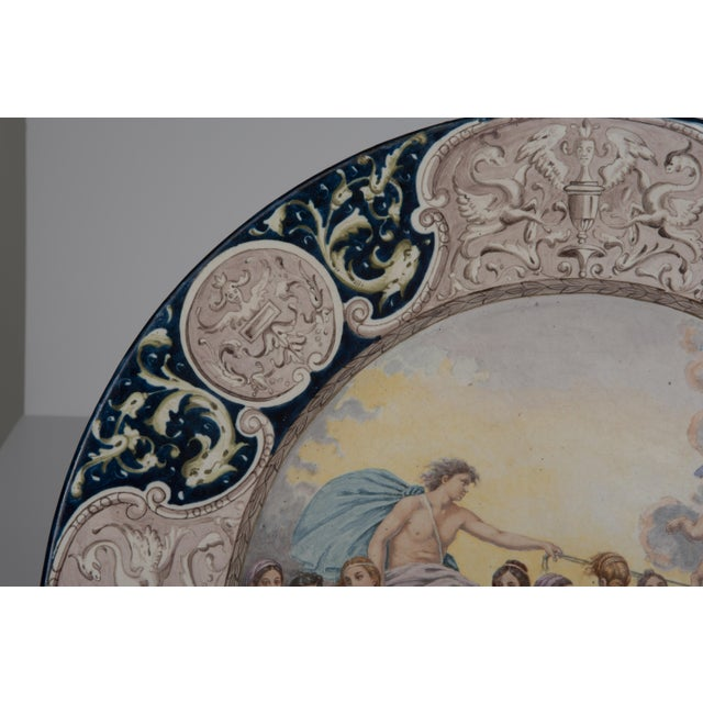 Renaissance Large Italian Faience Allegorical Neoclassical Charger Icarus Chariot For Sale - Image 3 of 13